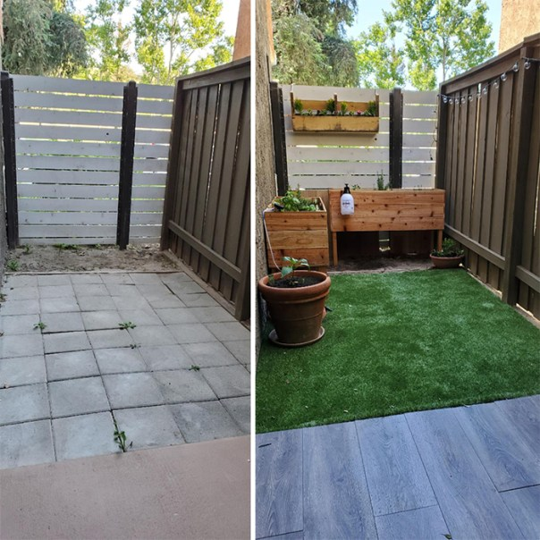 Moved into a new apartment before quarantine started, gave us some time to upgrade our side yard! We built all the planters ourselves and are really excited to try gardening for the first time