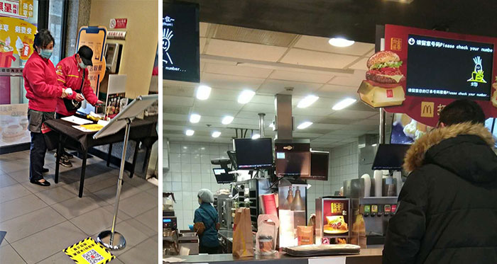 McDonald's In Beijing. Temperature Check And Name / Phone Registration Inside Door. All Staff, Including At The Visible Open Kitchen, Wear Masks. Temperature Of Staff Listed On Takeout Items