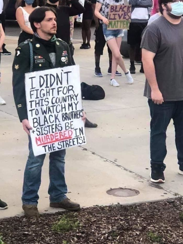 A Veteran Protesting His Government After Fighting For It Shows The United Fight For Equality