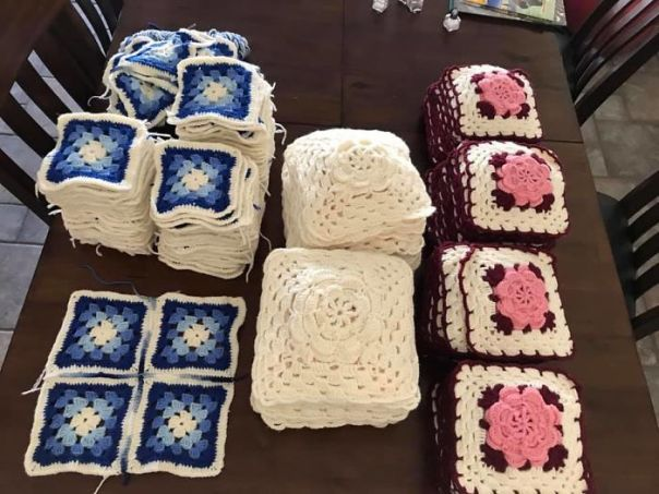 My Grandmother Past Away Last Year And Was A Prolific Crocheter (Crochetist?). My Dad Was Cleaning Out Her House And Found All These Squares For 3 Unfinished Afghans. I'm So Lucky That I Get To Finish Her Work