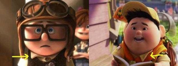 In Pixar's Up (2009), Both Young Carl And Russell Have One Collar Tip Untucked Over Their Vests