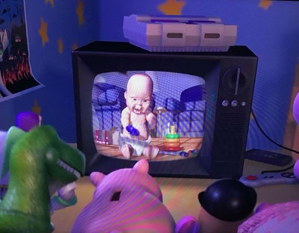 In Toy Story 2, When The Pig Starts Flipping Through The Channels Super Fast, Most Of The Channels Show Shots From Tin Toy (Including This Famously Creepy Baby), One Of The Original Pixar Shorts