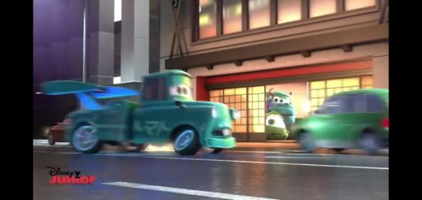 During The Race In Pixar's Movie Short, Cars Toon - Tokyo Mater (2008), Mater Drives Through A Japanese Restaurant Where Mike Wazowski And James 'Sully' Sullivan From Pixar's Monsters Inc. (2001) Can Be Seen In Monster Truck Form