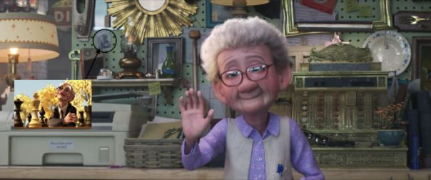 In Toy Story 4(2019), If You Look Behind The Old Lady At The Antique Store; You Can See A Photo Of Geri From The Old Oscar-Winning Pixar Short Film Geri's Game(1997). @31:59