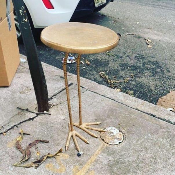The Trend Of The Tables With Legs Continues...the Question Is...where Is The Top Half Of The Ostrich?! Just Put Out On Melrose Between Knickerbocker And Wilson In Bushwick!
