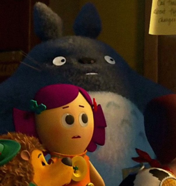 "In The 2010 Film By Pixar ""Toy Story 3,"" One Of The Toys Featured Is A Stuffed Totoro Doll From The Studio Ghibli Film ""My Neighbor Totoro"""