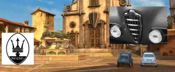 In Cars 2 (2011), There Are Multiple References To Italian Cars In The Italian Village That Lightning Mcqueen Visits. The Maserati Trident Is On The Fountain Statue, And The Old Alfa Romeo Grille Is On The Church