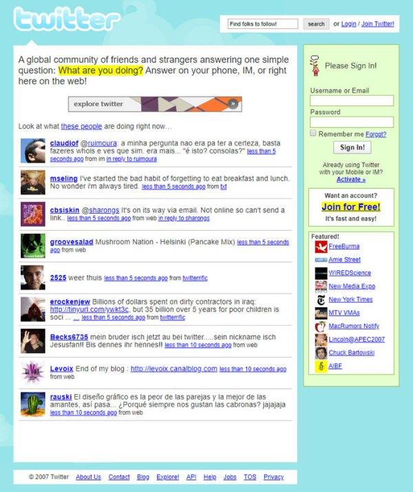 On Twitter, 2007
