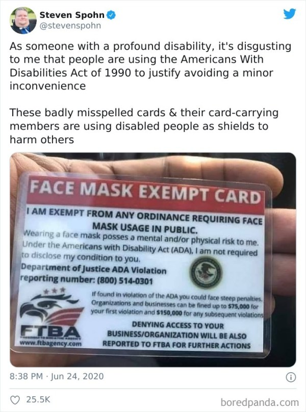 Pos Pretends To Be Disabled To Try And Get Out Of Wearing A Mask