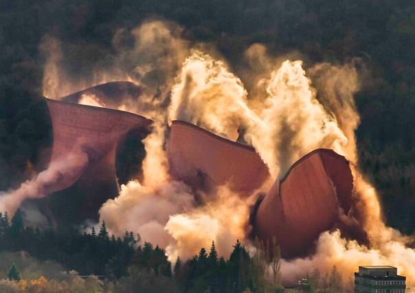 Changing Landscapes Commended: John Hayward, 'Ironbridge Cooling Towers Demolition', Shropshire