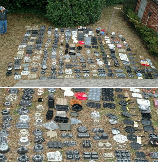 An Array Of Cake Pans Collected In The Lifetime Of My Late Grandmother Taken From A Roof Top