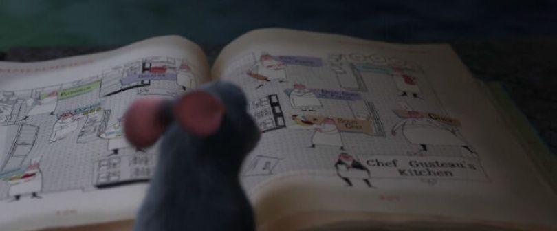 Ao folhear o livro de receitas no esgoto, uma das páginas que Remy folheia mostra as tarefas de cada pessoa na cozinha de Gusteau, revelando como Remy sabe disso mais tarde