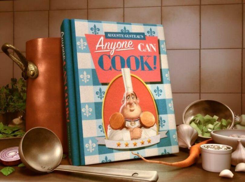 """Você pode ver o primeiro nome de Gusteau, Auguste, no livro de receitas """"Qualquer um pode cozinhar"""", que é um anagrama de Gusteau"""