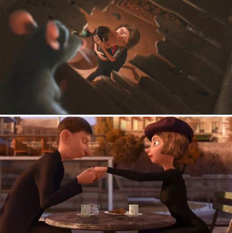 Os amantes desde o início do filme são vistos novamente durante a cena de perseguição quando Skinner cai na água