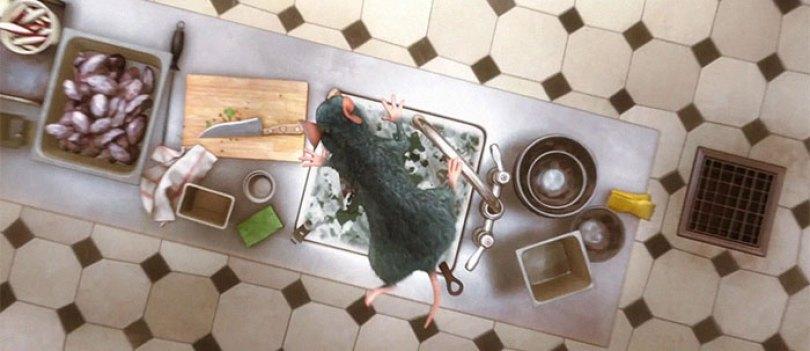 A primeira coisa que Remy faz quando entra na cozinha é cair em uma pia cheia de sabão e água para não contaminar nenhum alimento que tocar mais tarde na cena