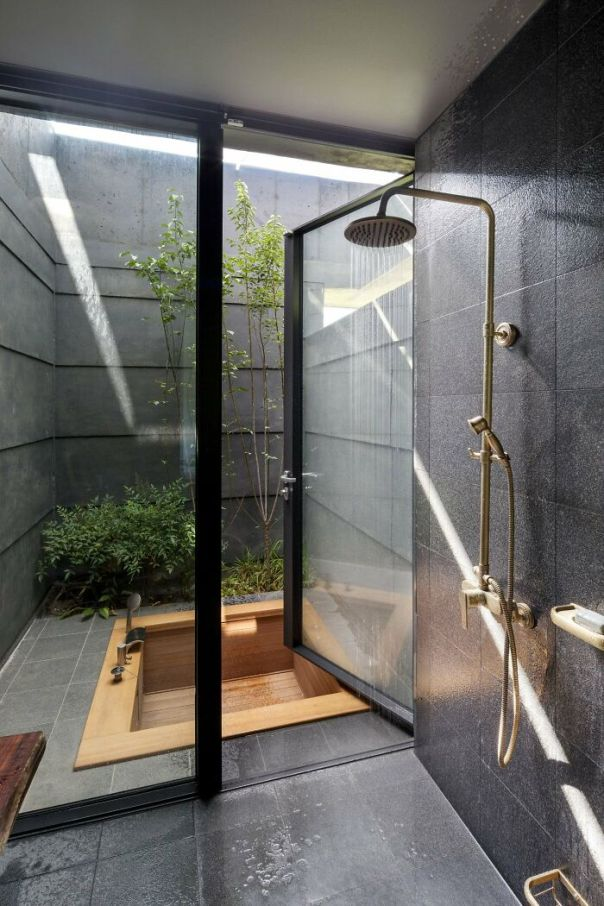 Sunken Wood Bath In A Tiny Secluded Courtyard With Some Greenery, Yangpyeong County, Gyeonggi Province, South Korea