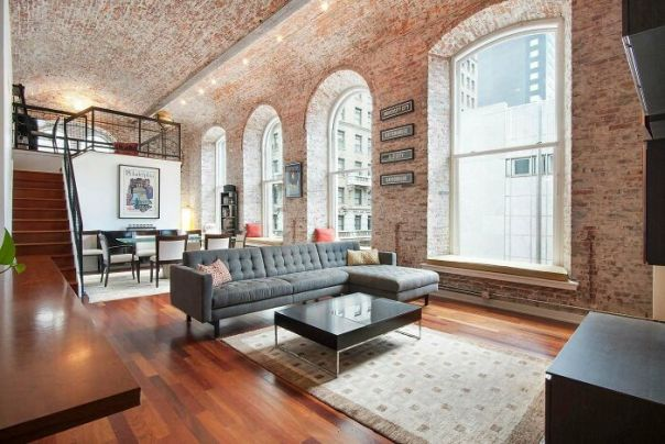 Brick Barrel Vaulted Ceiling And 12-Foot Windows In This Philadelphia Industrial Loft