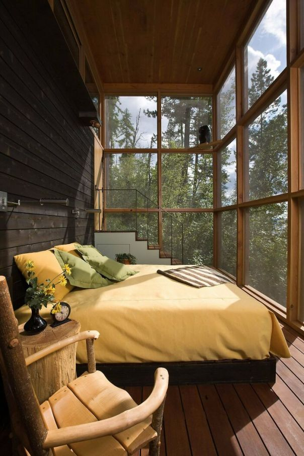 Wood Bedroom In A Retreat In The Wilderness, Bigfork, Flathead County, Montana
