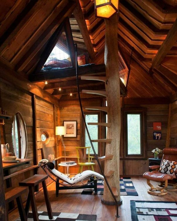 Tree House Living Area With A Sleeping Loft At The Top Of The Stairs - Located Near The Crystal River In Colorado