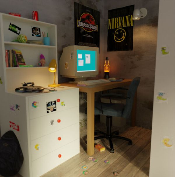Remade My Room From The 90s In A 3D-Software, As I Remembered It