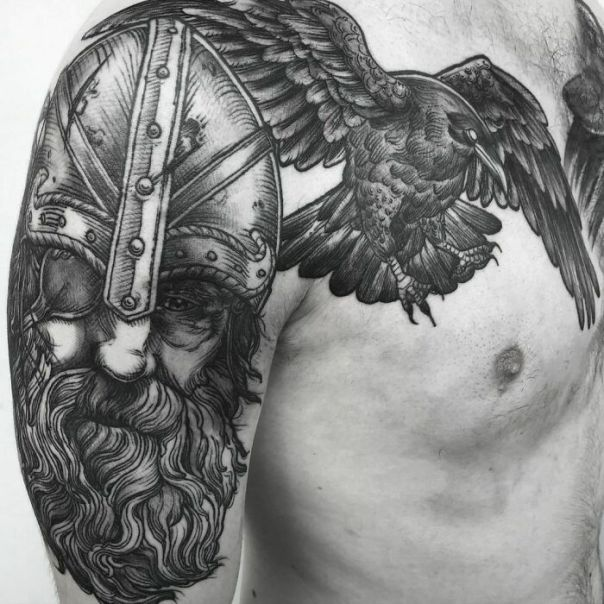 Added One Of The Ravens To This Healed Odin Piece