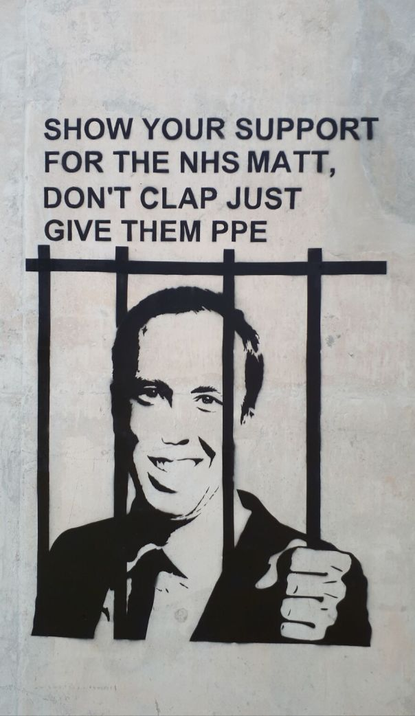 Lock Him Up.matt Hancock Painted In Bristol United Kingdom