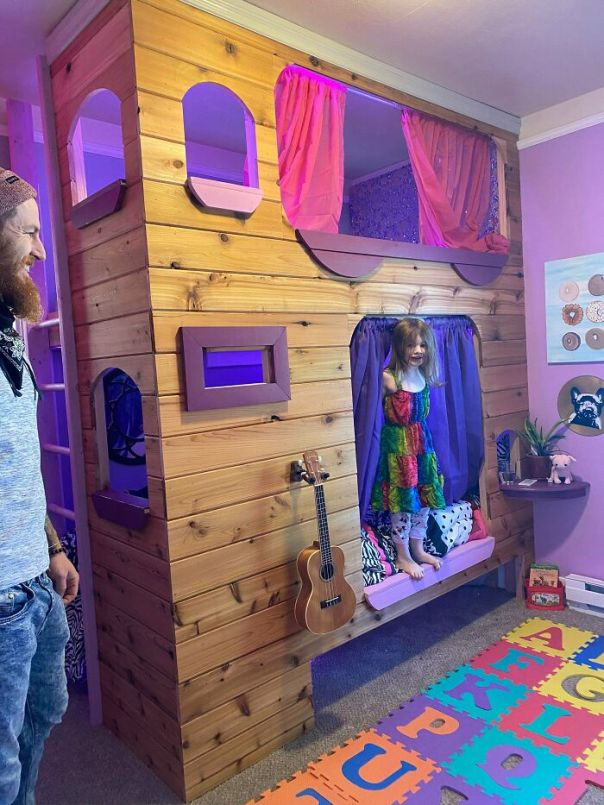 A Bunk Bed I Built For My Daughter's 5th Birthday