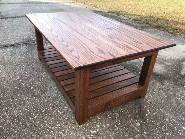 """My 14-Year Old Son Built This Coffee Table For His Sister And Her Boyfriend As A Christmas Gift. It Measures 28"""" X 42"""" And Is Made Of Red Oak With Red Oak Stain And Polyurethane Finish"""