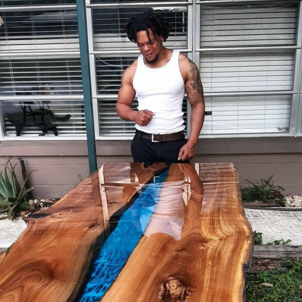 Really Happy With The Way This Live Edge Elm Table Turned Out As You Can See On My Face