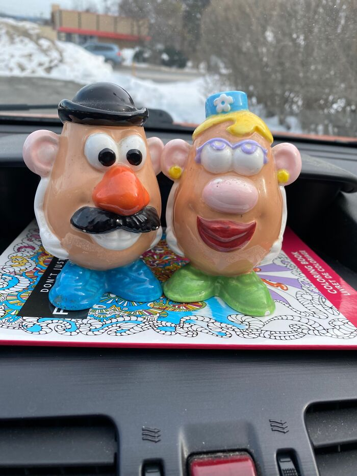 Mr & Mrs Potato Head Salt And Pepper From The Goodwill Store Today.