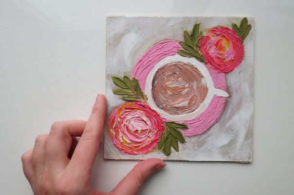 Impasto Cup Of Coffee With Roses