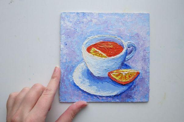 Hot Tea With Lemon, Impasto Painting