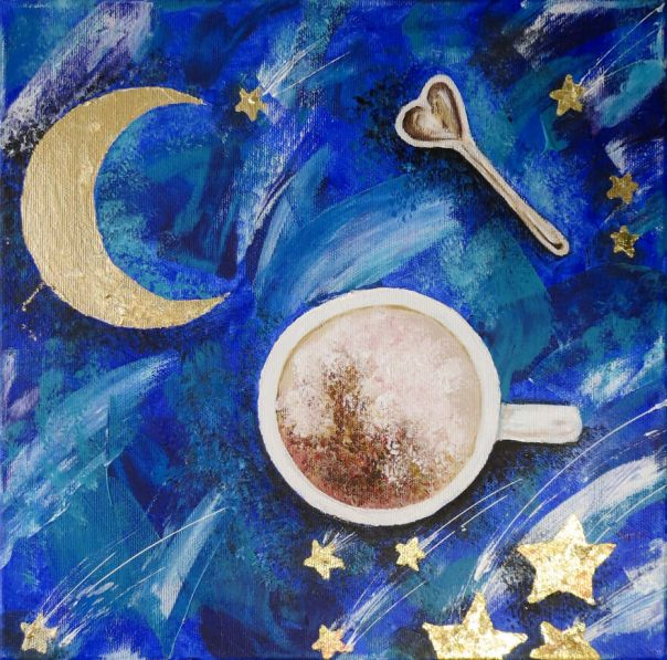 Magic Moon And Stars Story About Coffee, Acrylic With Gilding