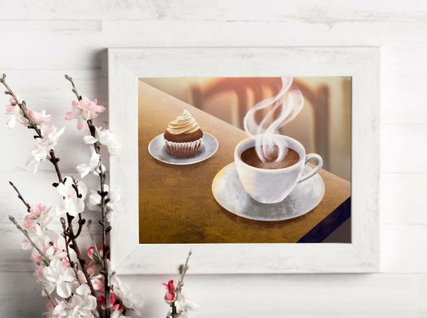 Digital Painting Cup Of Coffee Or Tea With Sweets