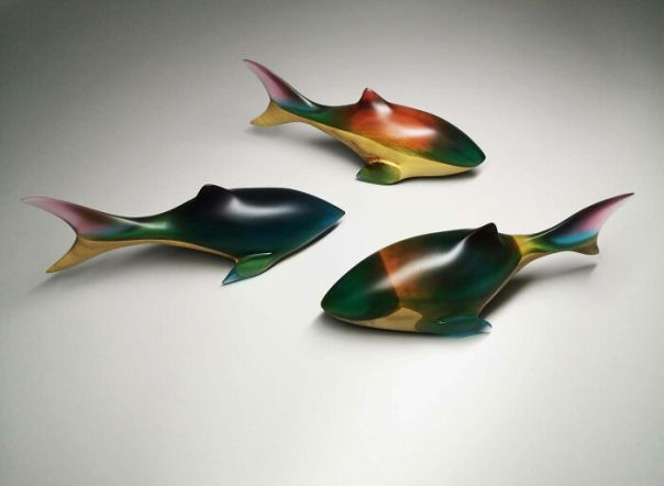 I Made Three Colorful Sharks In Wood With Epoxy Resin, Matte Finish