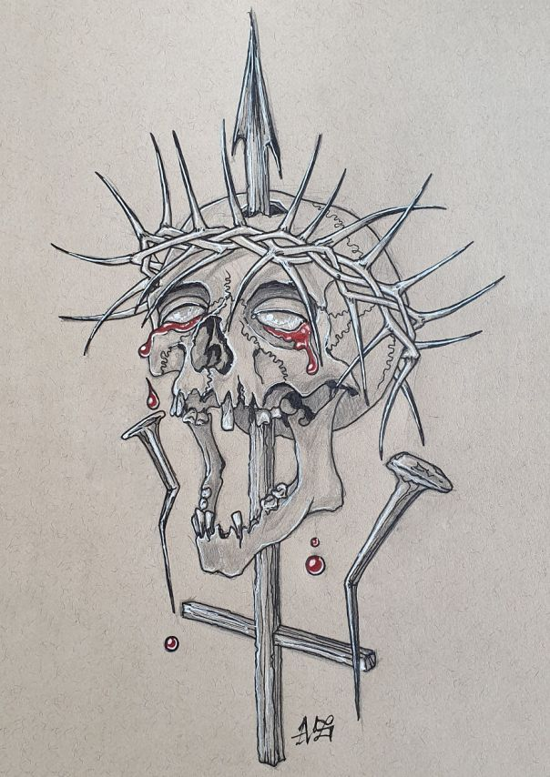 Religion (Upside Down Cross Piercing Trough A Skull Who Is Wearing A Thorn Crown Similar Like Jesus Christ Was Wearing And Two Nails Witch Represent The Nails From The Crucifixion Of Christ)