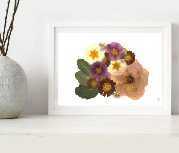 Simple Bouquet From Pressed Rose And Primroses