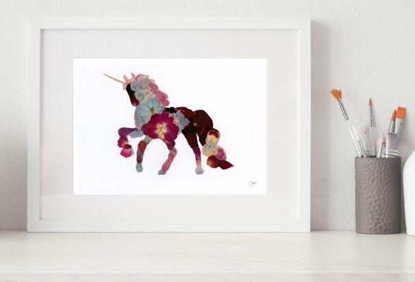 Unicorn Made From Pressed Rose Petals, Hydrangea, And Delphinium