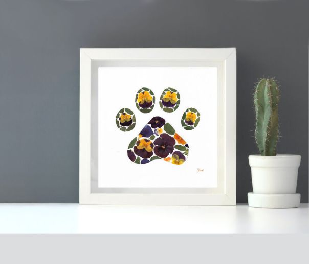 Cat's Paw Made From Pressed Pansies