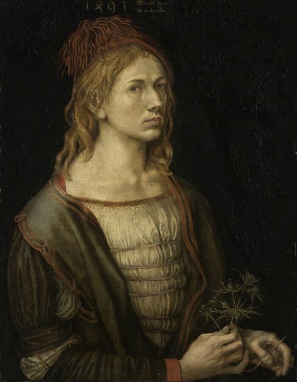 Portrait Of The Artist Holding A Thistle By Dürer, Albrecht (1493)