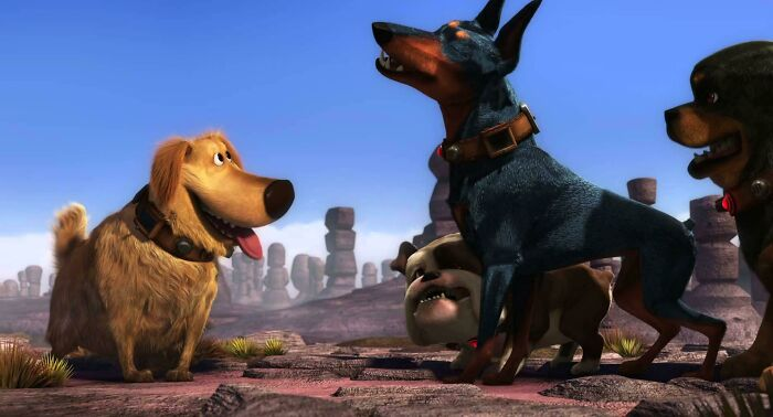 In Up (2009), Dug Is The Only Dog To Successfully Track Down The Tropical Bird Because He Is The Only Hunting Dog (Golden Retriever). All The Others Are Guard Dog Breeds