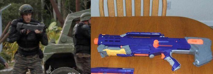 Оружие в Terra Nova (ТВ, 2012) - это окрашенные распылением пистолеты Nerf