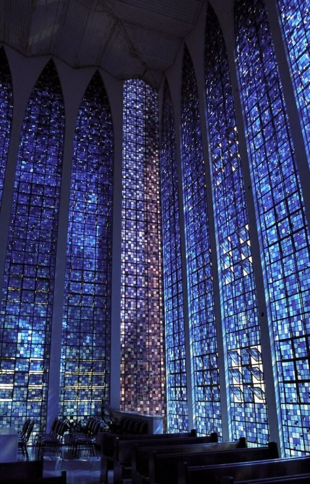 Windows Inside Dos Bosco Chapel- Brasilia, Brazil
