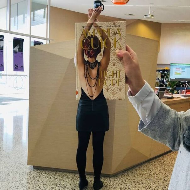 Here's One Of Our Favourite #bookfaces From A Couple Of Years Ago. Do You Have A Fave?#amanadaquick #tightrope #bookfacefriday #bookface . . . #friday #friyay #libraryfun #librarylife #librariesofinstagram #publiclibraries #libraries #marionlibraries #marionlibrary #sacouncils #partofyoureveryday