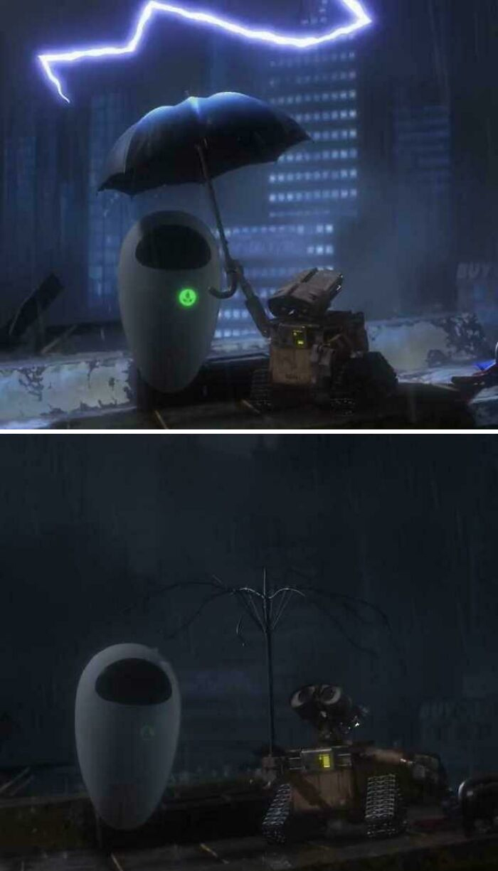 If You Look Closely After The Lightning Strikes The Umbrella Wall-E Is Holding The Electricity From The Bolt Charges His Battery Back To Full
