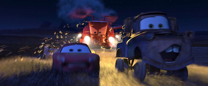 In Cars (2006), Lightning Mcqueen's Body Shakes Much More Than Mater's Because Mcqueen Is A Racecar With Firmer Suspension, Which Means The Bumpy Roads Make Him Shake More Aggressively Than Normal Cars That Have Softer Suspension