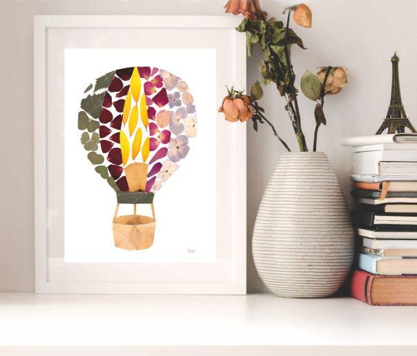 Hot Air Balloon Made From Rose Petals, Hydrangea Petals, Sunflower Petals, Clover, And Birch Leaves