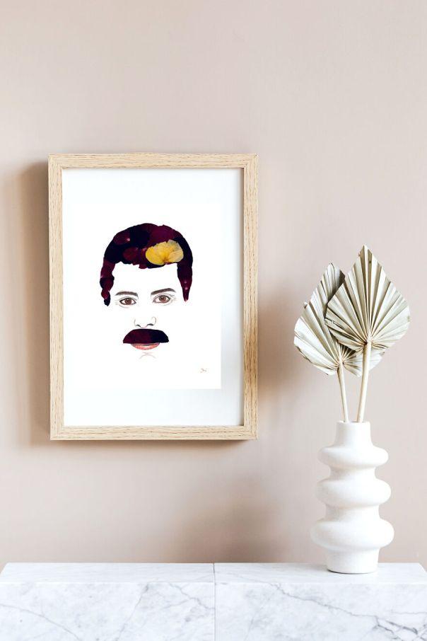 Freddie Mercury Made From Pressed Rose Petals