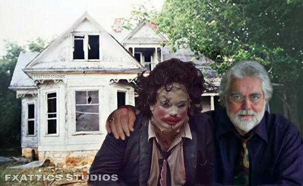 "Leatherface And Gunnar Hansen From ""The Texas Chain Saw Massacre"""