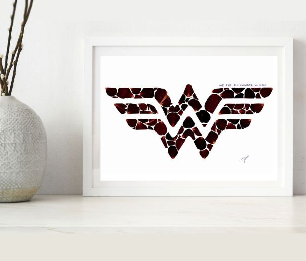 We Are All Wonder Women, Design Inspired By DC Comics Made From Rose Petals